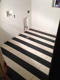dal tile chiffon creme marble and black slate striped floors: from design dump: construction progress: week 21 + 22