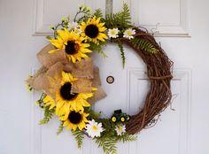 John Deere country wreath #wreath #wreaths #art #diy #yellow #sunflower #summer #daisy #country #burlap #bow #tractor