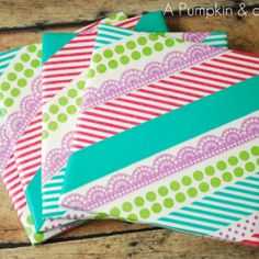 Washi Tape Coaster Tutorial - Sarah, want to make these when you come visit in a couple of weeks??