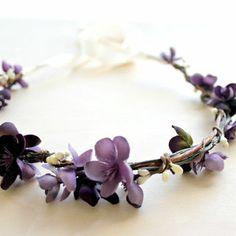Plum Floral Crown. Bridal Accessories. Bohemian. Bridal.  Purple Flowers, Hair Crown. Woodland Wedding. Spring, Summer, Bridesmaids