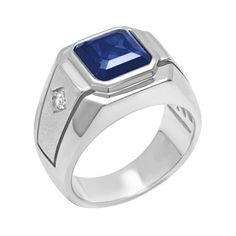 Men's Sterling Silver Square-Cut Blue Sapphire and CZ Tapered-Fit Ring - Size Saphire Ring, Gems Jewelry, Cross Jewelry, Body Jewelry, Diamond Jewelry, Fine Jewelry, Jewellery, How To Clean Gold, Stacked Wedding Rings