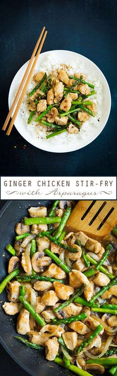 Ginger Chicken Stir-Fry with Asparagus - love this easy 30 minute meal!