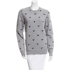 Pre-owned Kenzo Eye Print Pullover Sweatshirt ($175) ❤ liked on Polyvore featuring tops, hoodies, sweatshirts, grey, long sleeve pullover, pullover sweatshirt, long sleeve tops, grey sweatshirt and grey pullover