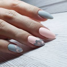 inch NAILS FRENCH grey and pink matte finish with contrasting florals. Now😚😚😚 Nails, nail art designs, nail designs, nail art, nail designs acrylic Spring Nail Art, Spring Nails, Gorgeous Nails, Pretty Nails, Nagellack Design, Almond Acrylic Nails, Nailed It, Manicure E Pedicure, Beautiful Nail Designs