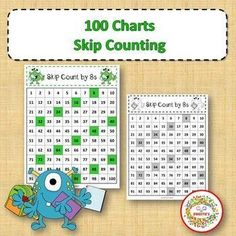 100 Charts with Skip Counting Christmas 20 worksheets 2 Worksheets per number - Black and White - Color Worksheet to count to 100 Worksheets to skip count with 2, 3, 4, 5, 6, 7, 8, 9 and 10. #teacherspayteachers #100chart #numbers #worksheets #monsters