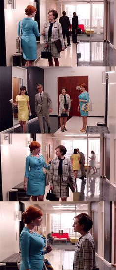 Once again, too much ground to cover for foreplay, kids. For once, we're seeing them both in the apartment at the same time, Robes Vintage, Vintage Dresses, Mad Men Fashion, Vintage Fashion, Mad Man Serie, Joan Holloway, Yellow Pumps, Men Tv, Power Colors