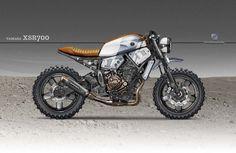 Yamaha Cafe Racer Design by Kustomeka Yamaha Cafe Racer, Scrambler Yamaha, Moto Cafe, Bobber Custom, Scrambler Custom, Custom Cafe Racer, Tracker Motorcycle, Cafe Racer Motorcycle, Motorcycle Bike