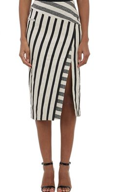 Altuzarra black and ivory slub blanket stripe heavyweight jacquard Arcadia skirt styled at asymmtric yoke and slit with contrast stripes.