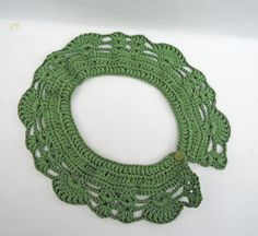 Crochet Collar Peter Pan Style crochet Collar Green by evefashion, £12.00