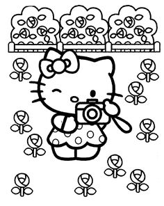 Hello Kitty Camera Coloring Pages