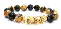 Faceted Yellow Fire Agates and Crystals Stretch Bangle Bracelet | AyaDesigns - Jewelry on ArtFire