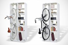 "If our ""The Shoes, Books and a Bike Stand"" didn't impress you then consider this beautifully designed space-saving two-in-one bicycle rack + bookshelf. Designed by Italian designer Byografia the ""Bookbike"" is a fully practical solution for indoor bicycle stand. The Bookbike rack is available in opaque chalk-white or iron-grey color. Although I don't ride bicycle but I'd love to décor my room with it. via [Likecool]"