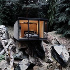"""""""House in the Woods, designed by Alexander Dimitrov Container Home Designs, Nature Architecture, Architecture Design, Cabin Design, Modern House Design, Cabins In The Woods, House In The Woods, Cliff House, Tiny House Cabin"""