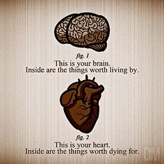 This is your brain. Inside are the things worth living by. This is your heart. Inside are the things worth dying for.