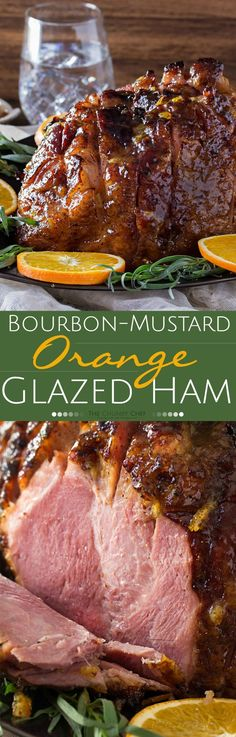 Bourbon Mustard Orange Glazed Ham — sticky, sweet, tangy, and full of flavor. this bourbon mustard and orange glazed ham is one that you'll be happy to have as the star of your holiday meal! Ham Recipes, Cooking Recipes, Thanksgiving Recipes, Holiday Recipes, Orange Glazed Ham, Ham Dishes, Pork Ham, Ham Glaze, Baked Ham