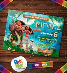Moana Birthday, Moana Invitation, Disney Moana, Island Adventure Party, PKI-042