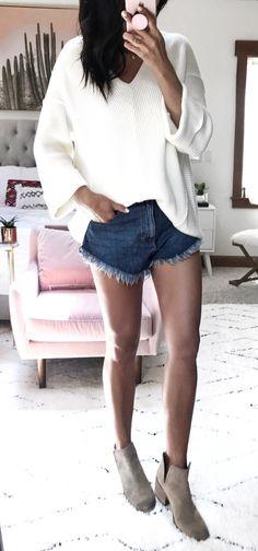 #summer #outfits White Knit + Denim Short + Beige Booties