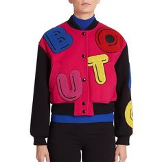 Boutique Moschino Letter Bomber Jacket (1,821 CAD) ❤ liked on Polyvore featuring outerwear, jackets, apparel & accessories, pink bomber jacket, blouson jacket, letter jacket, bomber jacket and stand collar jacket