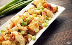 Roasted Cauliflower w/ Bacon - 40 min (cauliflower, bacon, green onions, coconut oil, salt & pepper)