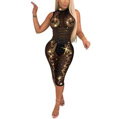 Nhicnds Womens Sexy Gold Sequin See Through Dresses Sleeveless Black Sheer Mesh Bodycon Party Midi Dress Long Sleeve Peplum Top, Short Sleeve Dresses, Modest Dresses, Trendy Dresses, High Waisted Leather Leggings, Dress With Shawl, See Through Dress, Rave Outfits, Classy Dress