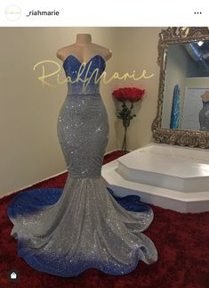 Riah Marie Designs LLC on Ice princess in royal blue and silver Tap photo for product info. Prom Dresses Slay, Black Girl Prom Dresses, Senior Prom Dresses, Gorgeous Prom Dresses, Prom Outfits, Mermaid Prom Dresses, Mermaid Evening Gown, Summer Dresses, Formal Dresses