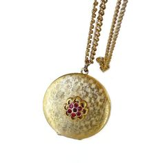 Vintage Locket Gold Filled Red Rhinestone Brushed by zephyrvintage