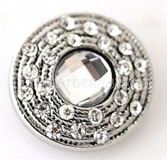 Silver Rope Clear Rhinestone 18mm Snap Charm Interchangeable Fits Ginger Snaps #Handmade #Interchangeable