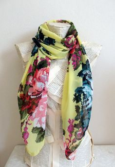 Hey, I found this really awesome Etsy listing at https://www.etsy.com/listing/194264460/yellow-floral-scarf-fashion-scarf-trendy