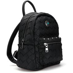 Woven Mini Backpack in Black ❤ liked on Polyvore featuring bags, backpacks, faux leather bag, real leather backpack, square backpack, mini rucksack and faux leather backpack