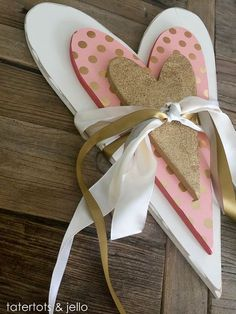 Valentine's Day Embellished Wood Hearts and Arrows!-- Tatertots and Jello