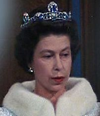 The Brazilian Aquamarine and Diamond Tiara; circa 1957, created by Garrards. Shown in it's original form which consisted of three upright rectangular stones mounted on a simple platinum band. Worn by HM Queen Elizabeth II of England. (photo 1 of 2)