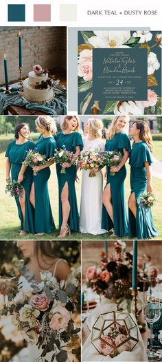 dark teal and dusty rose wedding color ideas wedding colors schemes rustic TOP 10 Wedding Color Ideas For 2020 Unique Wedding Colors, Popular Wedding Colors, Spring Wedding Colors, Wedding Colors Green, Wedding Color Schemes Fall Rustic, Dark Teal Weddings, Rustic Weddings, Fairytale Weddings, Unique Weddings