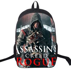 16 Inch Assassin's Creed Nylon Kids Backpack For Teenagers Children School Bags Boys Double Assassins Creed Backpacks Daily Bag