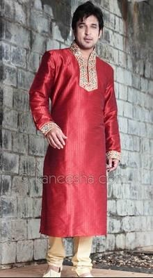 Stand Collar Silk Blend Embellished Men's Kurta Chudidar Set