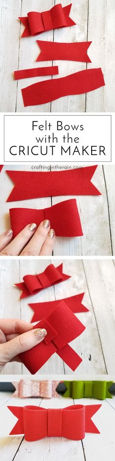 How to make felt bows with the Cricut Maker - it cuts felt beautifully! #ad #cricutmade #cricutholiday