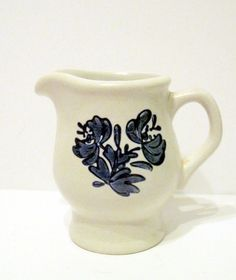 Pfaltzgraff Ceramic Creamer with Blue Floral Decor White Base
