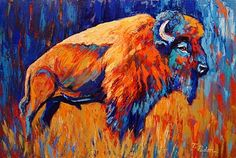 Contemporary Fine Art Gallery: Expressionist Buffalo Painting, Bison at Dusk, by Theresa Paden Buffalo Painting, Buffalo Art, Bull Painting, Acrylic Painting Canvas, Canvas Paintings, Acrilic Paintings, Knife Painting, Acrylic Art, Watercolor Paintings
