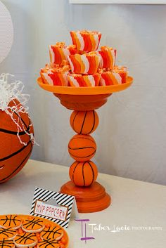 Decor: I made the dessert stands by sticking foam basketballs onto dowel rods and gluing them into wooden discs. - See more at: http://partylikepaula.com/2012/09/basketball-birthday-party.html#sthash.dAEkBQBy.dpuf