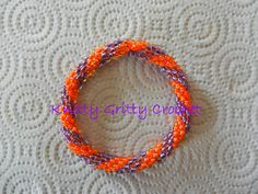 Clemson Crochet Glass Bead Bracelet