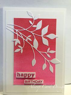 Gelatos background, paper Trey ink die words, memory box fresh foliage die, happy Birthday card, Alioop Card designs