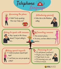 Most Commonly Used English Phrases on the Phone – ESLBuzz Learning English Here are some common phrases and sentences you can use when speaking on the telephone… English Talk, Improve English, Learn English Grammar, English Vocabulary Words, Learn English Words, English Phrases, English Study, Kids English, English English