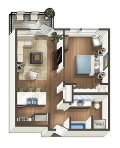 1 Bed 1 Bath Floor Plan 2 A Colorful House Belonging to Very Colorful Residents Small Apartment Plans, Small Apartment Layout, Studio Apartment Floor Plans, Condo Floor Plans, Studio Floor Plans, Studio Apartment Layout, Apartment Design, Small Apartments, Garage Apartment Interior
