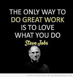The only way to do great work is to love what you do - Steve Jobs #Motivational #Inspirational