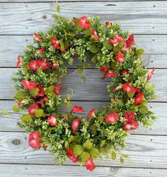"""$85 21-22"""" Boxwood Wreath. Spring Wreath. Front Door Wreath. Summer Wreath. Rustic Wreath. Red Flowers. Spring Decor. Boxwood and Wildflower Wreath"""