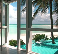 Paint the deck turquoise, feels like the ocean comes right to your front door. <3