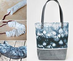 """Bei der Shibori """"rope dye"""" Technik wird der Stoff um ein Seil gewickelt, danach fest zusammengeschoben und danach gefärbt.  Dadurch entsteht das wabenartige Muster. Besonders schön ist auch der Farbverlaufeffekt."""