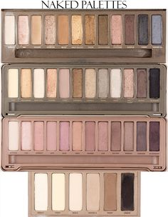 Urban Decay NAKED Comparison Swatches NAKED, NAKED2, NAKED3, NAKED Basics - VanityRouge. I want