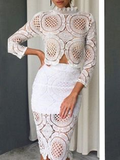Basic Lace Hollow Out Top And Tube Skirt #ClothingOnline #PlusSizeWomensClothing #CheapClothing #FashionClothing #womenswear #sexydress #womensdress #womenfashioncasual #womensfashionforwork  #fashion #womensfashionwinter