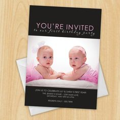 Modern Photo   Twins First Birthday Party Invitation by #madebybree