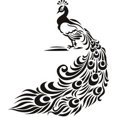 free black and white peacock clipart | Peacock Bird Animal Wall Art Stickers Wall Decal Transfers